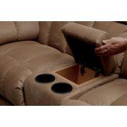 Gilmore 2  1  1 motoros relax ülőgarnitúra italtartós kanapéval Bora Wave világosbarna kárpittal raktárról - 10% akció