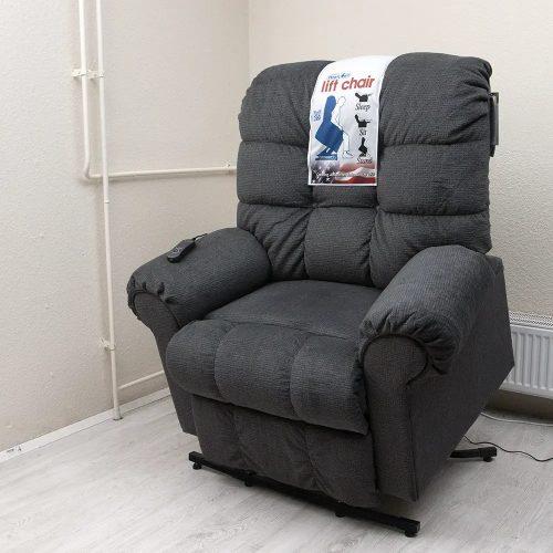 Omni amerikai XXL felállás segítő fotel kékesszürke kárpittal