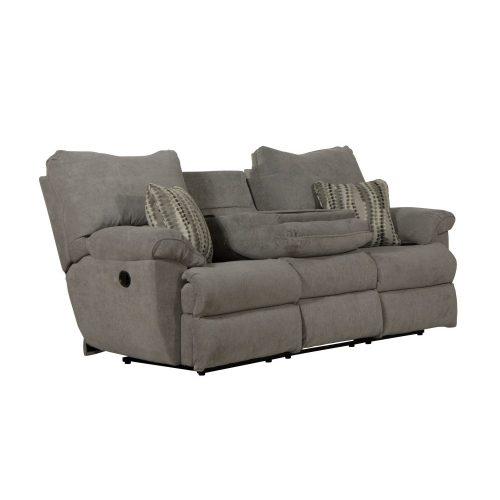 Sadler 3 személyes motoros relax kanapé szürke színű szövet kárpittal raktárról kapható - a középső ülés háttámla kis asztalkának lehajtható