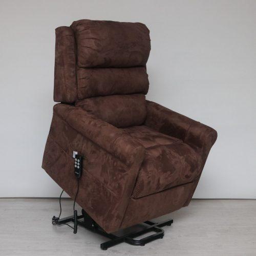 Soddy két motoros (független lábtartó és háttámla mozgatás) felállás segítő relax fotel csokoládé barna kárpittal raktárról