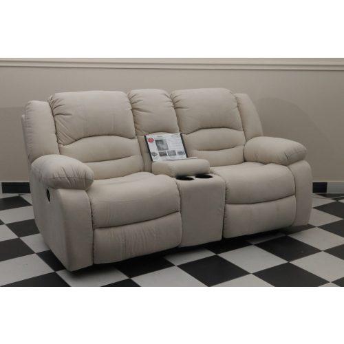 Tessin 2 személyes motoros italtartós relax kanapé Loca világos beige microszálas szövet kárpittal raktárról