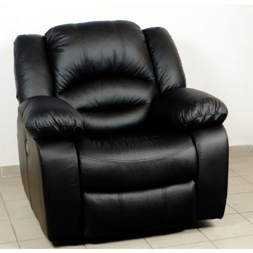 Tessin motoros TV fotel fekete valódi bőr kárpittal raktárról