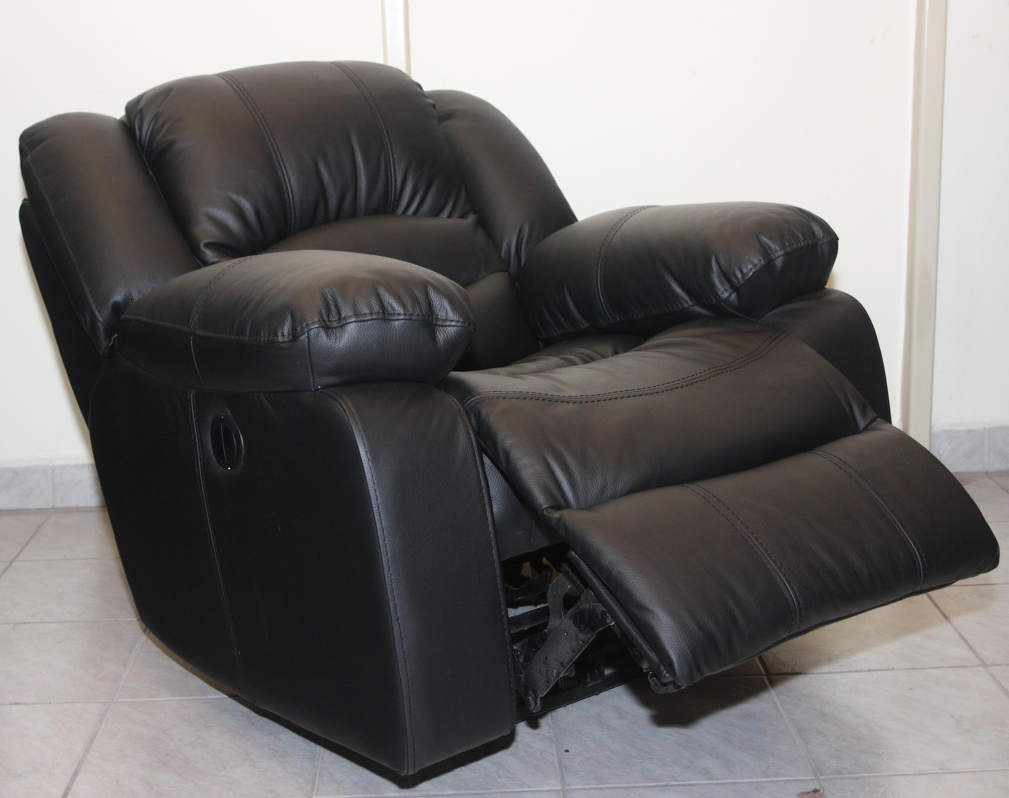 Texan motoros TV fotel - valódi bőr kárpit